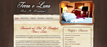 Sito web del Bed and Breakfast Terra e Luna