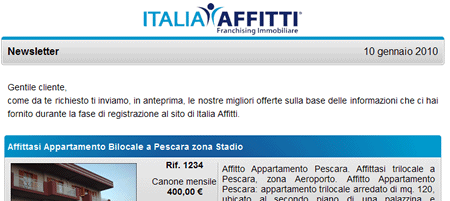 Newsletter del Franchising Immobiliare Italia Affitti
